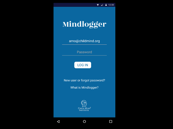 MindLogger mobile app login screen